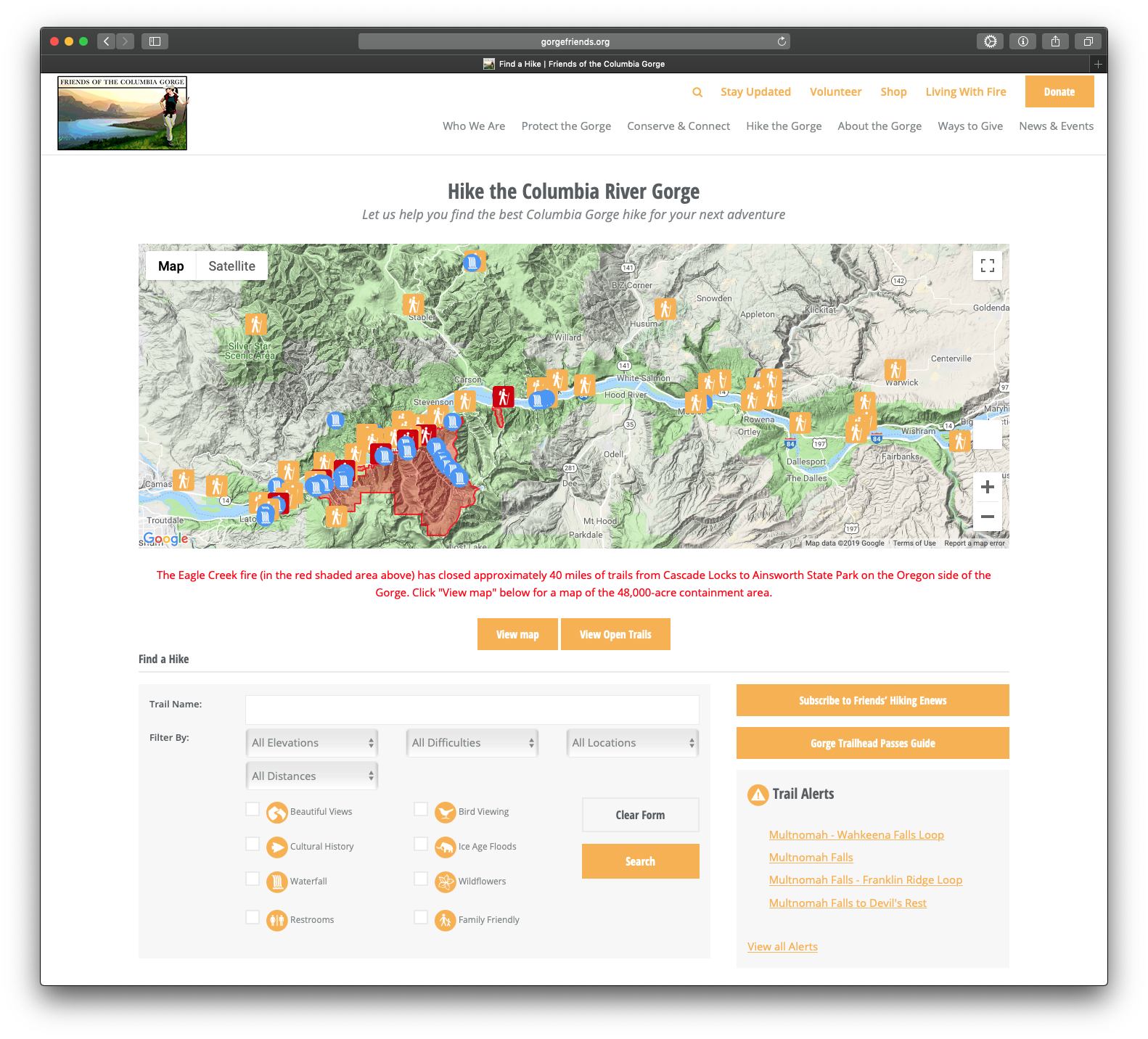A screenshot of the Find A Hike directory on the Friends' website showcasing the Eagle Creek Fire trail closures.